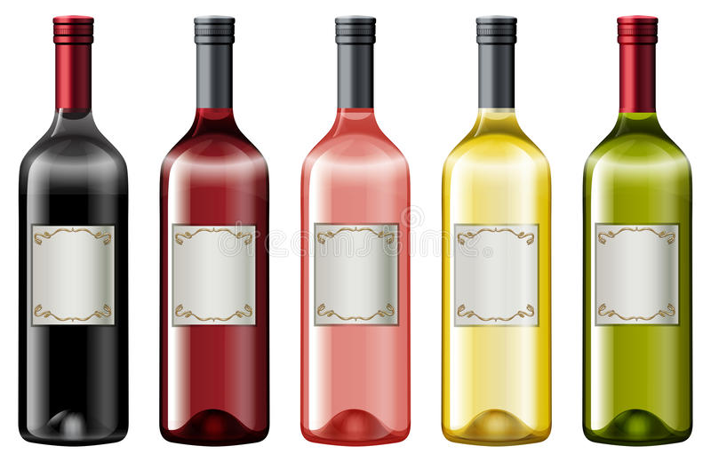 Different colors of wine bottles vector illustration