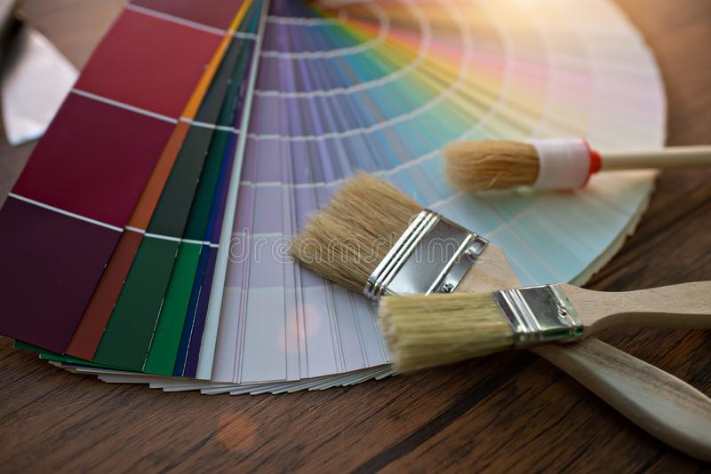 Different colour. Swatches with paintbrush royalty free stock image