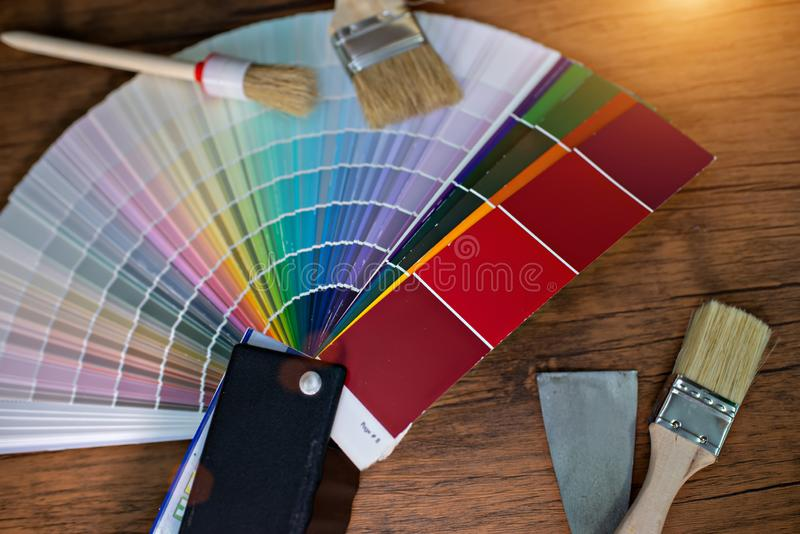 Different colour. Swatches with paintbrush stock image
