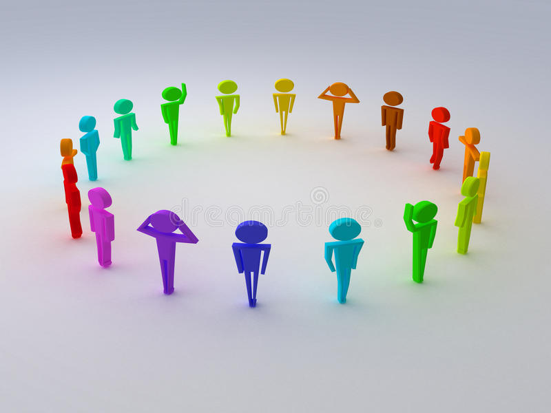 Different colours of people. Render different colours of people vector illustration