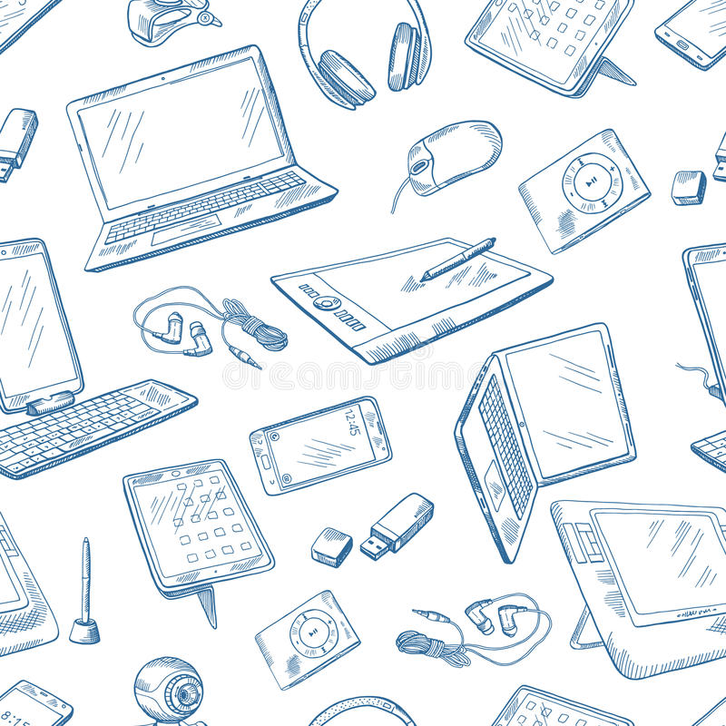 Different computer devices in hand drawn style. Vector seamless pattern vector illustration