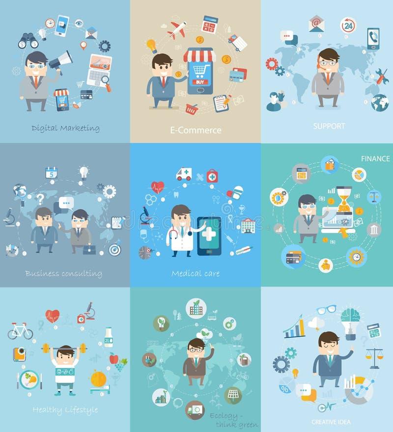 Different concept for business, medicine, health. stock illustration