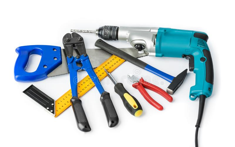 Different construction tools stock image