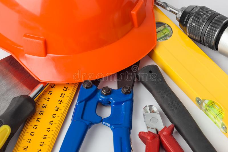Different construction tools stock images