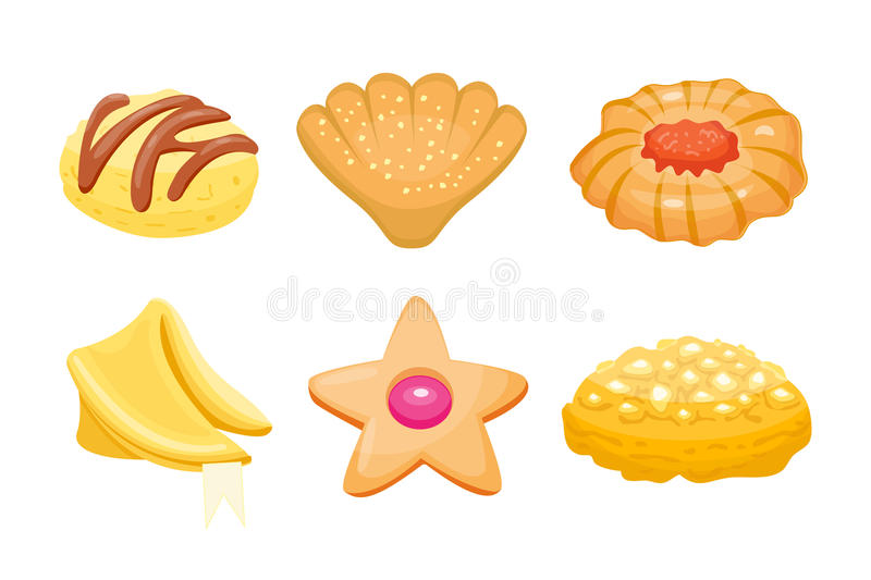 Different cookie homemade breakfast bake cakes isolated and tasty snack biscuit pastry delicious sweet dessert bakery. Eating vector illustration. Gourmet stock illustration