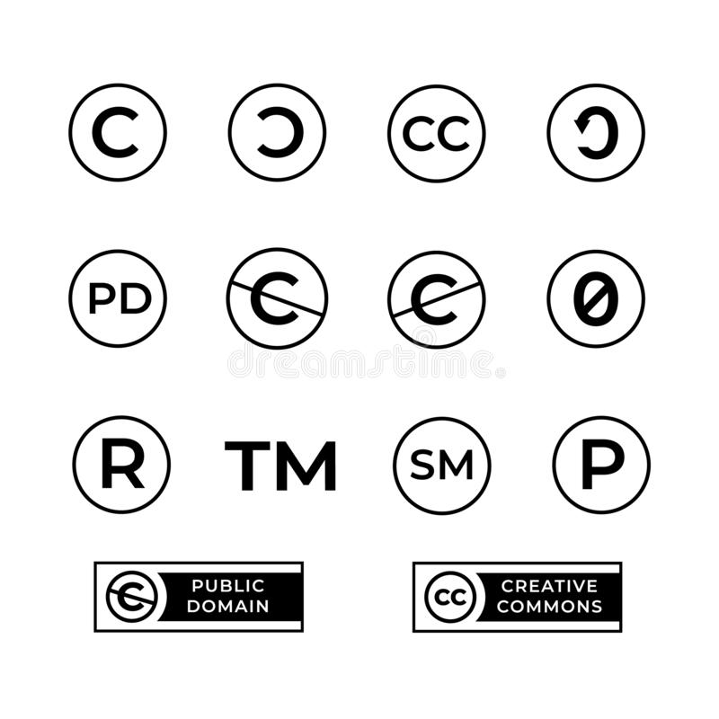 Free Different Copyright Icons Set With Creative Commons And Public Domain Signs. Royalty Free Stock Photos - 127956378