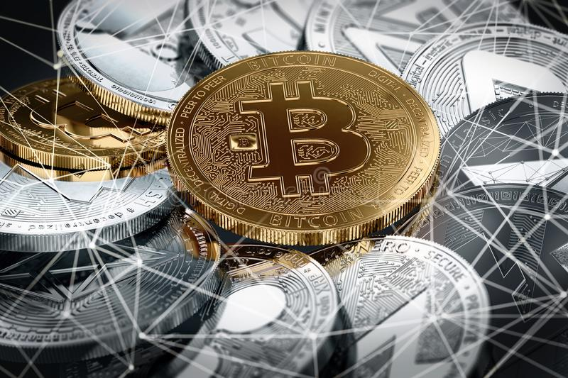 Different cryptocurrencies and a golden bitcoin in focus as the most important cryptocurrency. Different cryptocurrencies and a golden bitcoin in the middle in