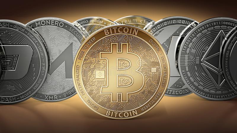 Different cryptocurrencies and a golden bitcoin standing in the middle as the most important cryptocurrency. Different cryptocurre. Ncies concept. 3D royalty free illustration