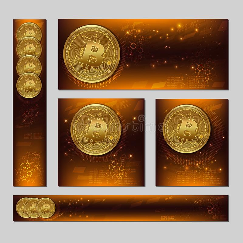 Different Cryptocurrency editable banners template. Bitcoin. 3D. Physical bit coin. Golden bitcoin coins. Stock vector illustration royalty free illustration