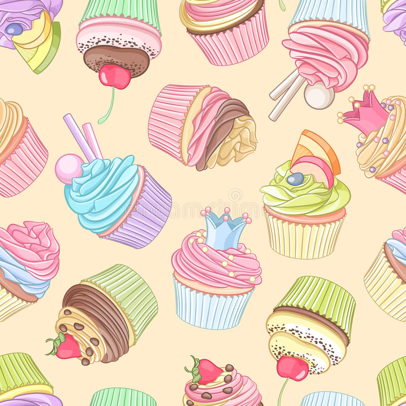 Different cupcakes seamless pattern. Vector illustration. Cute colorful cupcakes seamless pattern on neutral background. Vector illustration royalty free illustration