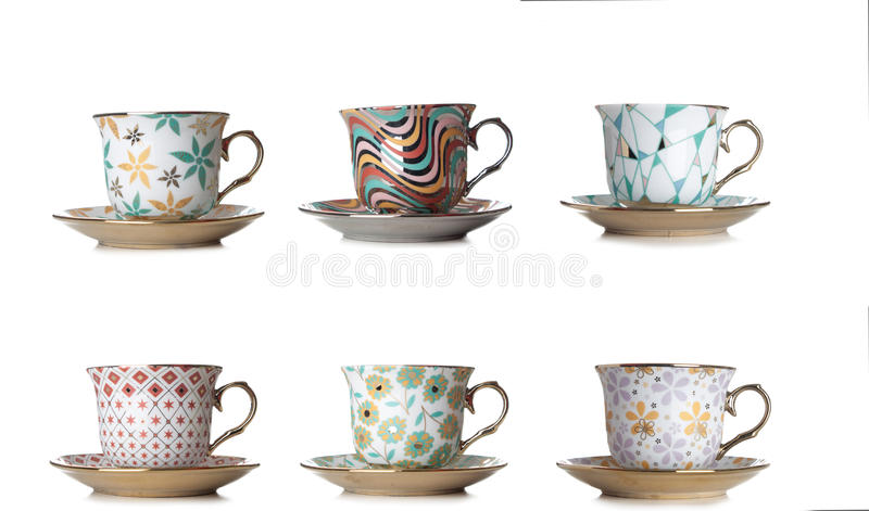 Different cups of coffee,tea on white background stock image