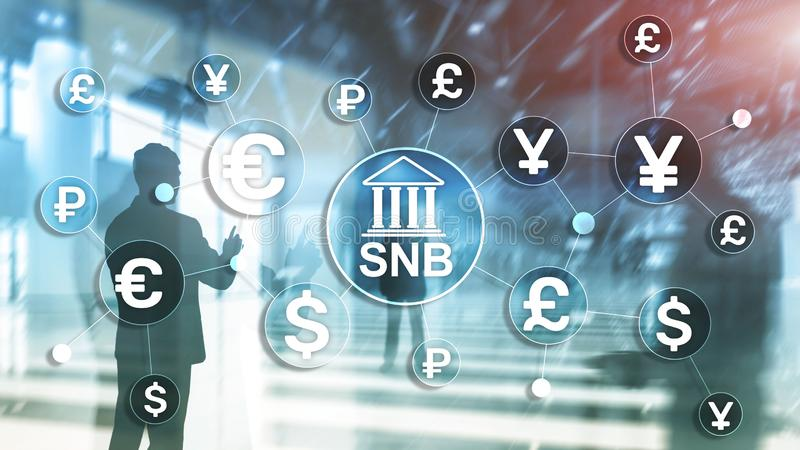 Different currencies on a virtual screen. SNB. Swiss National Bank. Different currencies on a virtual screen. SNB. Swiss National Bank stock photography