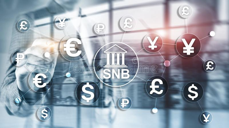 Different currencies on a virtual screen. SNB. Swiss National Bank. Different currencies on a virtual screen. SNB. Swiss National Bank vector illustration