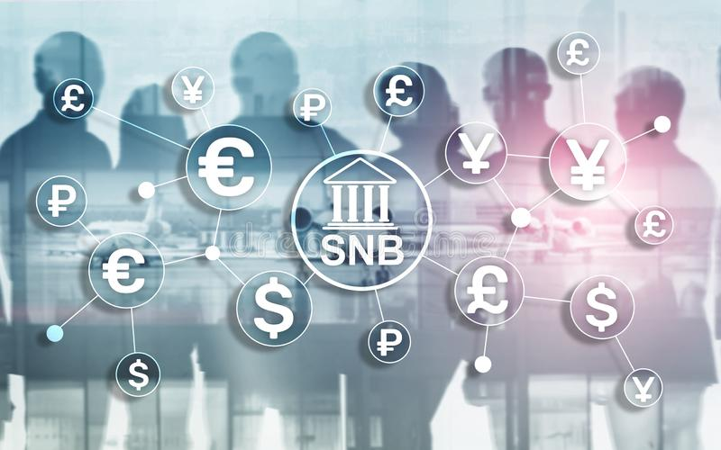 Different currencies on a virtual screen. SNB. Swiss National Bank. Different currencies on a virtual screen. SNB. Swiss National Bank royalty free illustration