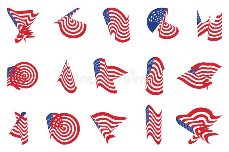 Different curved USA star flag logo stripes design elements vector illustration