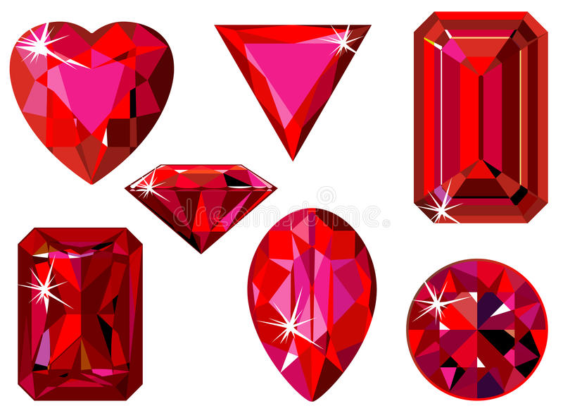 Different cut ruby. Vector illustration of different cut rubies isolated on white vector illustration