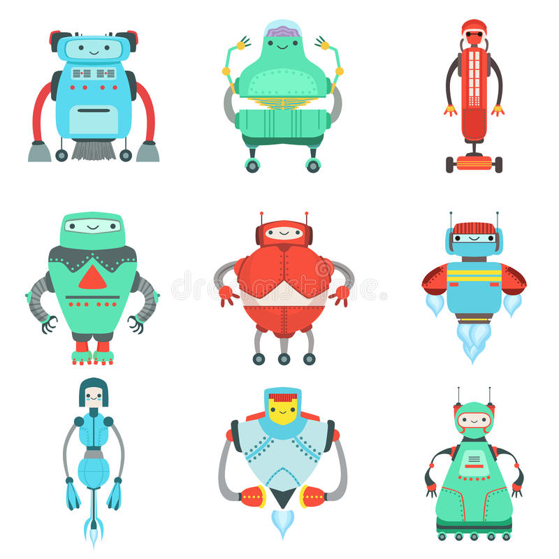 Different Cute Fantastic Robots Characters Collection royalty free illustration