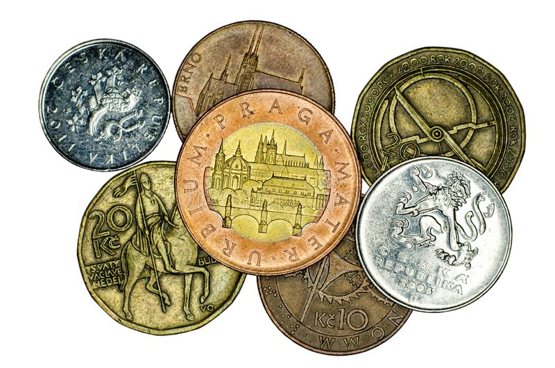 Different Czech koruna coins royalty free stock photo