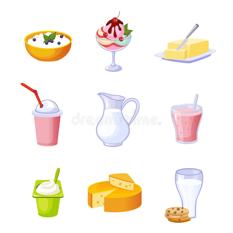 Different Dairy Products Assortment Set Of Icons vector illustration