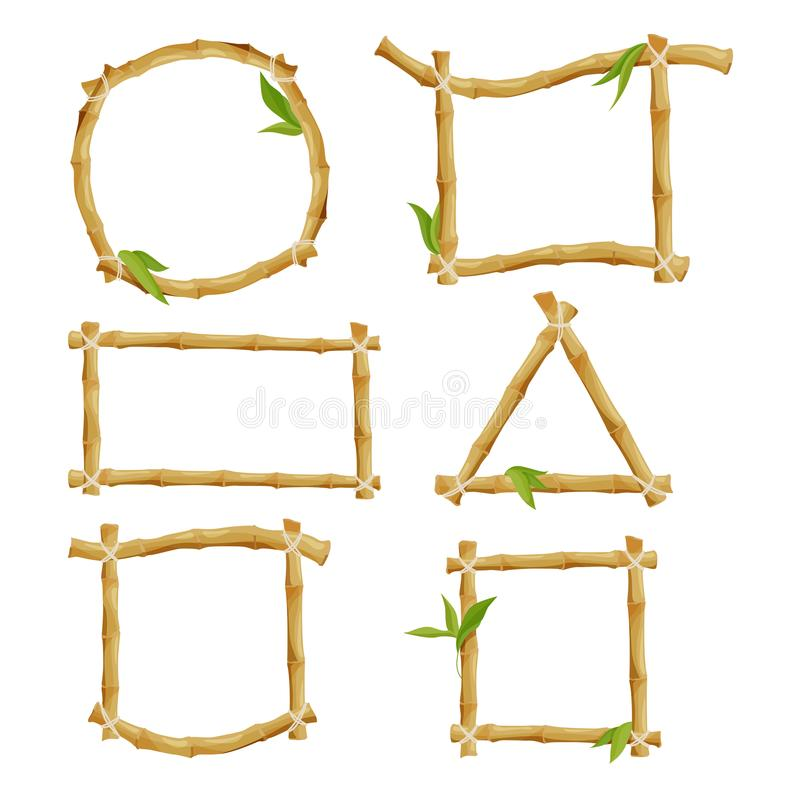 Different decorative frames from bamboo stock illustration