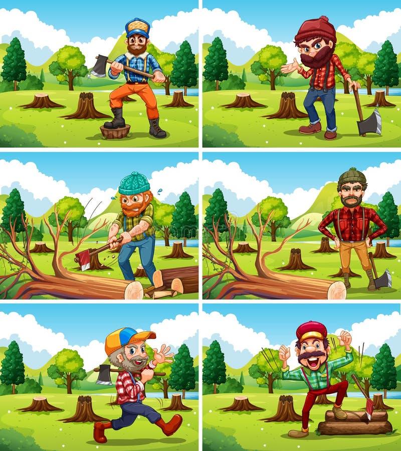 Different deforestation scene with lumberjacks stock illustration