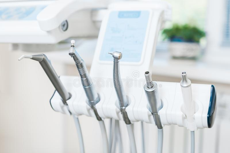 Different dental instruments and tools in a dentists office stock images
