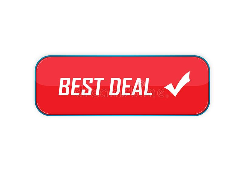 Different design best deal button element color web button. Approved web button best deal illustration Photoshop on isolated white background royalty free illustration