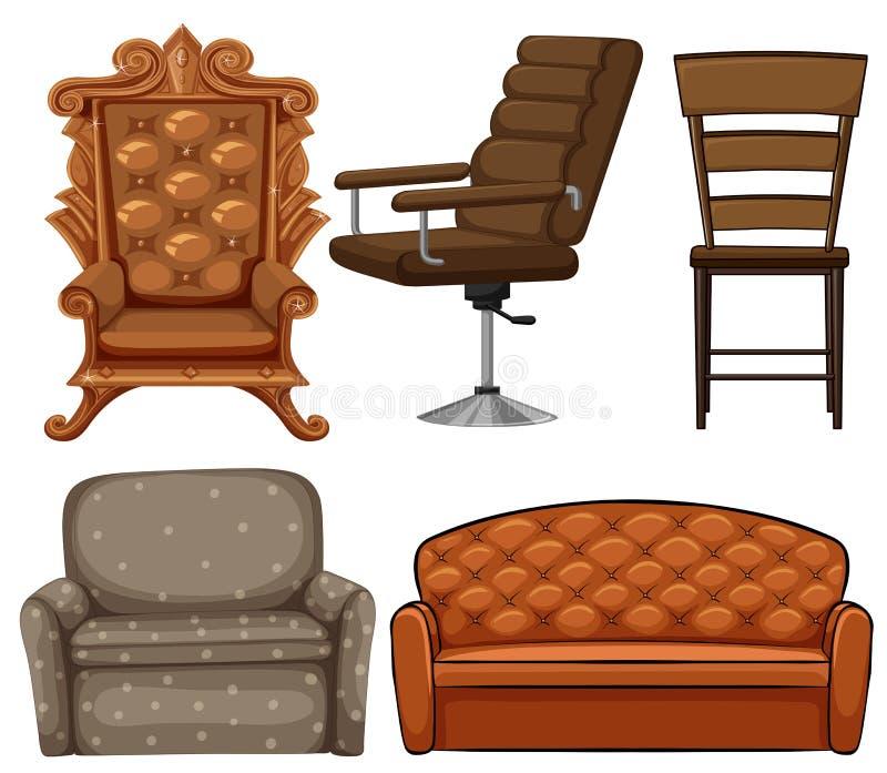 Different design of chairs. Illustration stock illustration