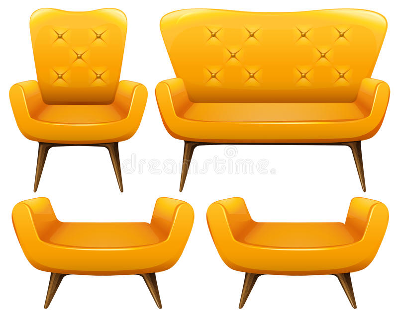 Different design of chairs in yellow color. Illustration vector illustration