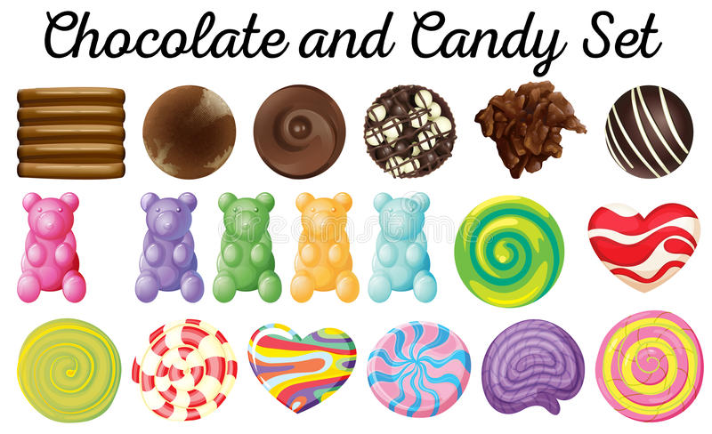 Different design of chocolate and candy set. Illustration stock illustration