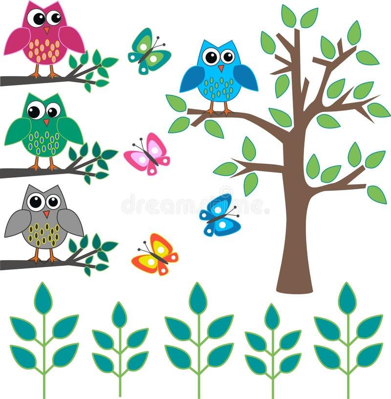 Different design elements. Like owls butterflies plants tree