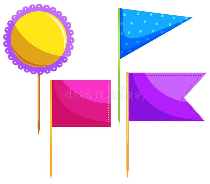 Different design of food flag royalty free illustration
