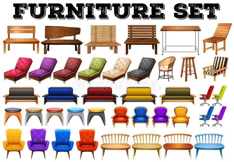 Different design of modern furniture. Illustration stock illustration