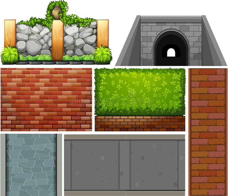 Different design of wall and footpaths royalty free illustration