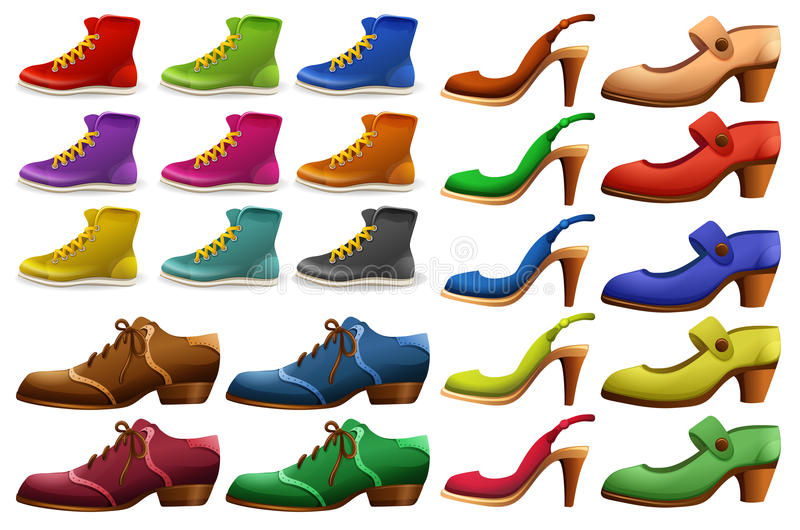 Different designs of shoes stock illustration