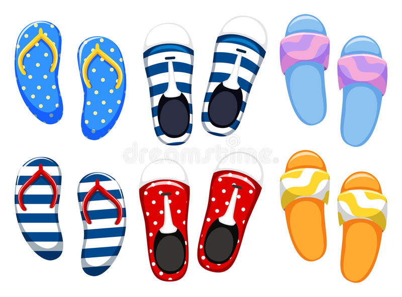 Different designs of shoes royalty free illustration