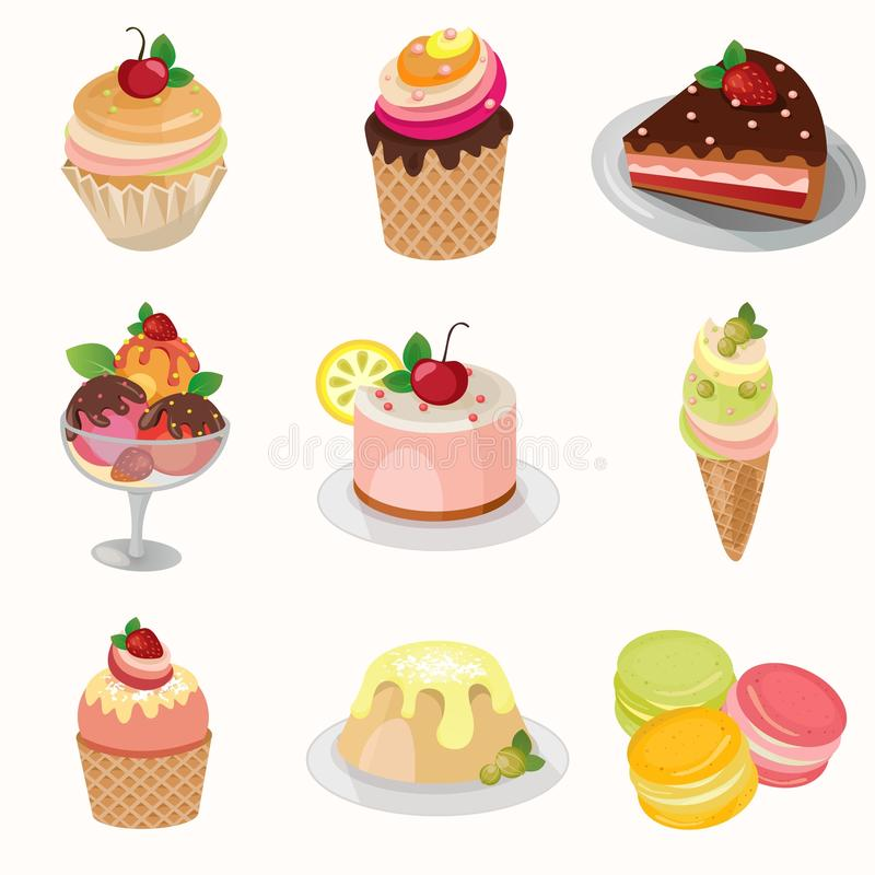 Different desserts with fruit. Set of different desserts. Three kinds of ice cream with fruit, pudding, a slice of cake and pies of different colors stock illustration