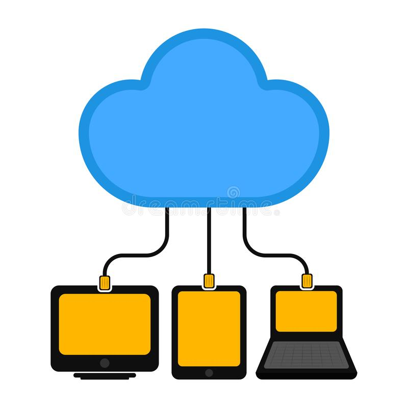 Different devices connected to cloud technology vector illustration