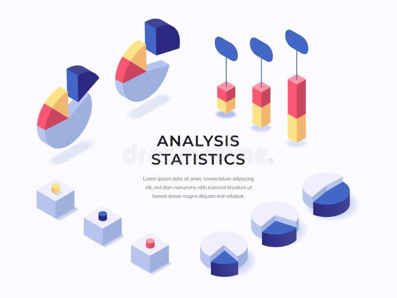 Data analysis isometric illustration royalty free illustration