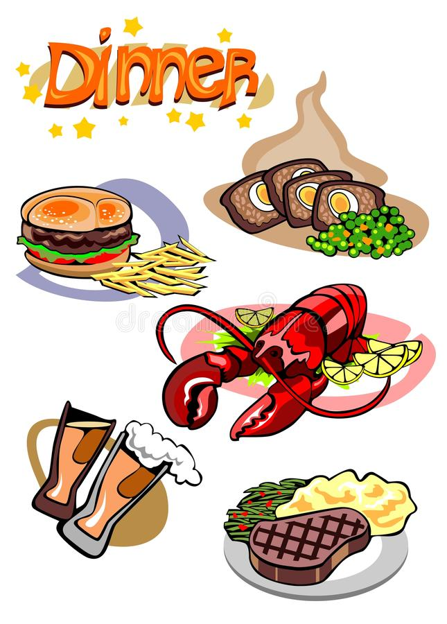 Different Dinner Sets. For Signs and Menu stock illustration