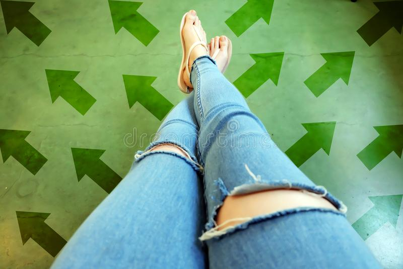 Different Direction Arrows to the Future. Selfie Above Woman Standing with Green Arrow Line Choices. Shoes Woman Footwear and ar. Rows on Street Road in The City stock image