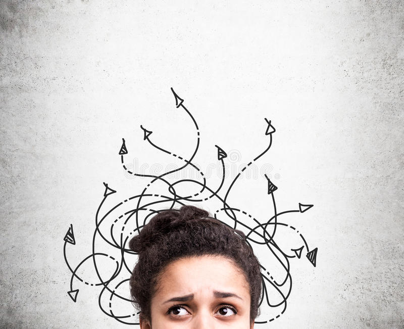 Different direction concept confused woman royalty free stock photography