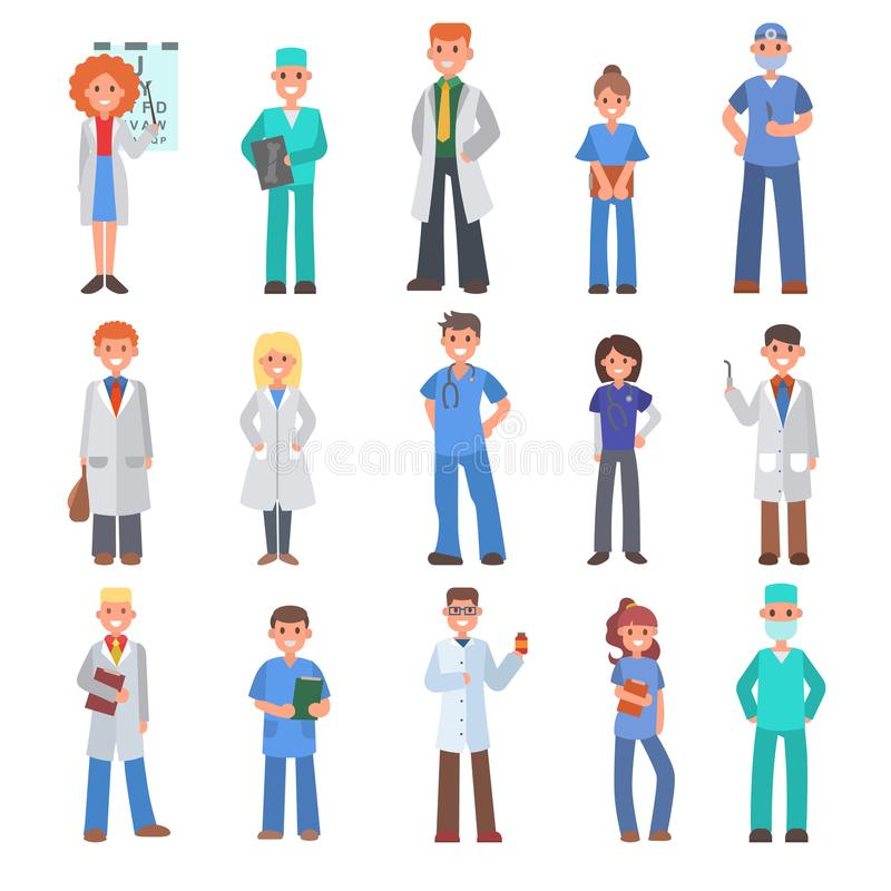 Different doctors vector people doctoral profession specialization nurses and medical staff people hospital doc. Character illustration. Medico person physician vector illustration