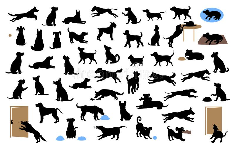 Different dogs silhouettes set, pets walk, sit, play, eat, steal food, bark, protect run and jump, isolated vector illustration. Over white background vector illustration