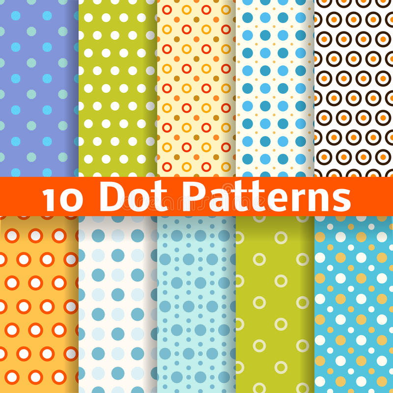 Different dot vector seamless patterns (tiling). stock illustration