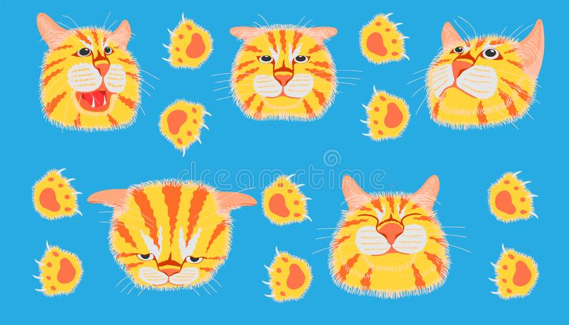 Different element cat head funny and cute emotion and footprint. vector illustration eps10. Different element cat head funny and cute emotion and footprint royalty free stock photography