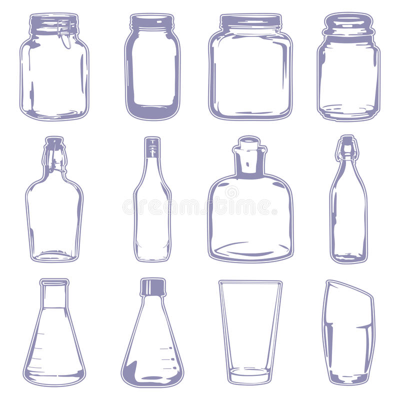 Different empty containers. A vector illustration of different empty containers vector illustration