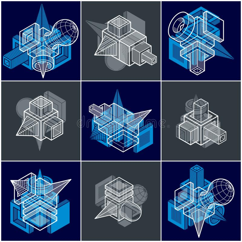 Different engineering constructions collection, abstract vectors. Set royalty free illustration