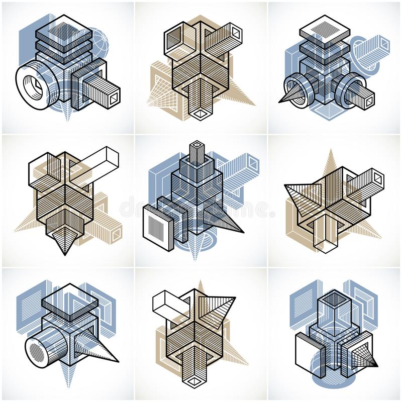 Different engineering constructions collection, abstract vectors. Set vector illustration