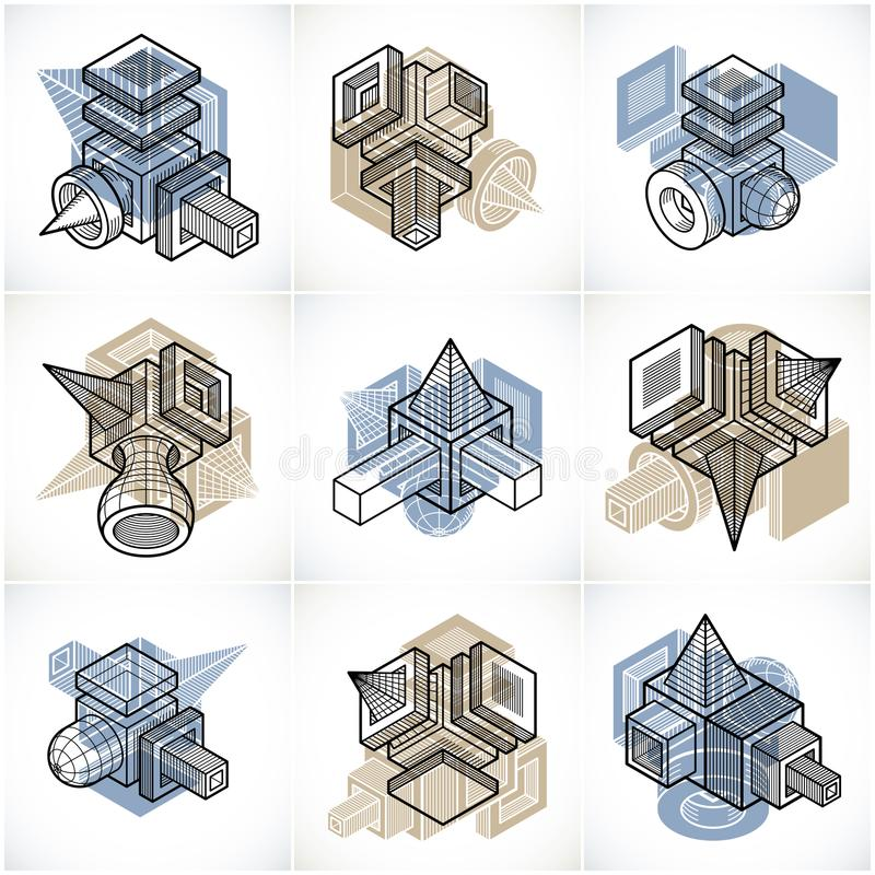Different engineering constructions collection, abstract vectors. Set stock illustration